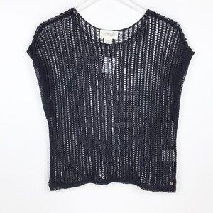 Dolman Sheer Crop Crochet Black Sweater